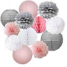 <b>12pcs Mixed</b> Pink Grey White Decorative Paper Pompoms Flower ...