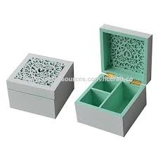 china new arrival laser engraved wooden jewelry box white