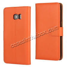 whole high quality wallet flip stand genuine leather case for samsung galaxy s7 edge orange