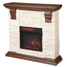 media console with faux stone electric fireplace tv stand in rustic white
