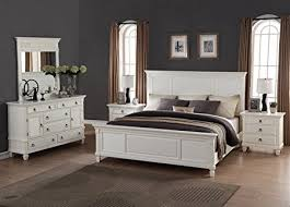 Amazon.com: Roundhill Furniture Regitina 016 Bedroom Furniture Set, King Bed,  Dresser, Mirror, 2 Nightstands, White: Kitchen U0026 Dining