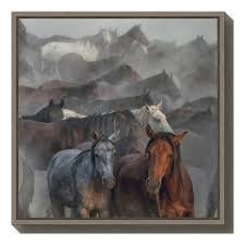 amanti art two horses by huseyin taskin framed canvas wall art dsw4079716 the home depot