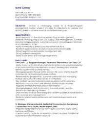 Project Manager Resume Objective 3 Pleasurable 2 Objectives