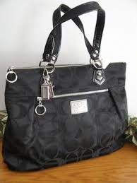 New Coach Poppy Signature Sateen Glam Tote Purse Bag 18351 Black Patent  Silver   eBay Tote