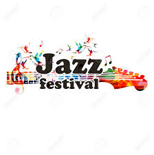 music notes in words jazz music festival colorful banner with guitar fingerboard