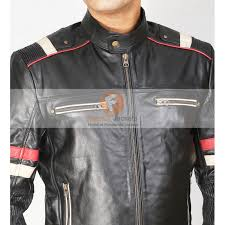 retro cafe racer classic motorcycle red stripe biker leather jacket men s leather jacket uk