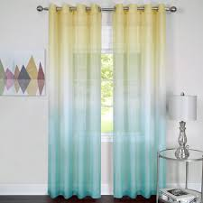 rainbow semi sheer grommet curtain panel turquoise to expand