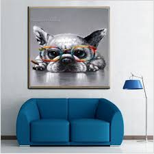 new handmade modern abstract smoking bulldog oil painting wall decor grey animal painting on canvas for living room decor in painting calligraphy from