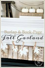 burlap and book page leaf garland