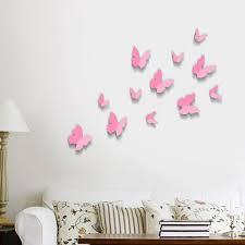 Pink 3D Butterflies Wall Art Stickers Inside Butterflies 3D Wall Art (Image  18 of 20