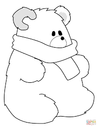 Small Picture Polar Bear with Scarf coloring page Free Printable Coloring Pages
