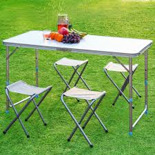Foldable aluminium picnic table set with 4 stools 11street malaysia outdoor table chairs