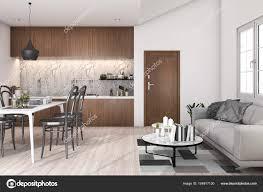 3d Rendering Loft Woonkamer Met Keuken En Eettafel Stockfoto