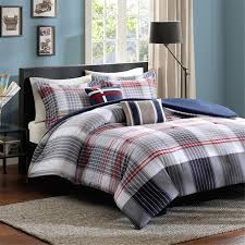 elegant red navy white plaid striped teen boy bedding twin xl full queen comforter duvet cover set