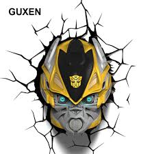 Us 1180 Guxen Bumblebee Transformation Shaped 3d Lamp Kids Toys Action Figures Movie Robot Led Night Light Kids Boys Toys Gifts Light In Led Night