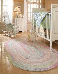 Pink & Blue Round Baby Nursery Area Rug