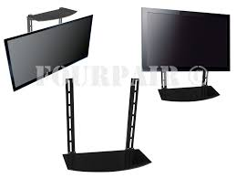 tv mount with shelf glass shelf above below under tv wall mount bracket component cable layout