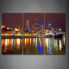 Small Picture 3 Piece Wall Art Painting Melbourne City Is Very Busy Print On