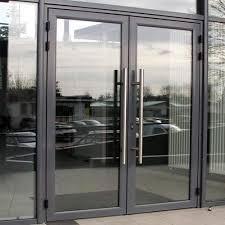 black aluminium hinged glass doors