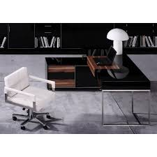 black office table. Modrest Ezra Black Gloss And Walnut Office Desk W/ Side Cabinet Table