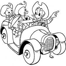 Disegno Di Qui Quo Qua E Paperino In Auto Da Colorare Per Bambini