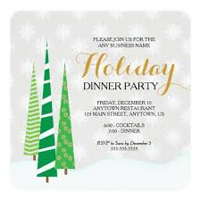 Trees Snowflakes Business Holiday Dinner Party Invitation Ladyprints