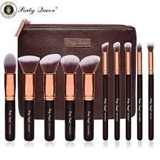 party queen beauty makeup brush set 10pcs rose golden kabuki cosmetic best makeup brushes natural or synthetic luxurious case