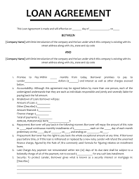 Loan Agreements Between Individuals Simple 48 Loan Agreement Templates Samples Write Perfect Agreements