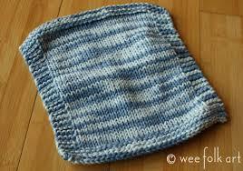 Easy Knit Dishcloth Pattern Enchanting Newbie Knitting Knit Purl Wash Clothes Wee Folk Art