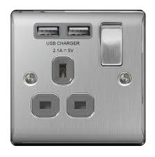 Brushed Steel Light Switches And Sockets Bg Brushed Steel Light Switches Sockets Full Range Satin Chrome Grey Inserts Nbs21u2g 1 Gang 2 Usb 2 1a Grey Insert