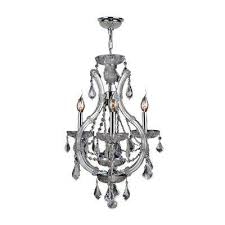 lyre collection 4 light polished chrome crystal chandelier