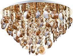 dar jester 5 lamp flush amber crystal
