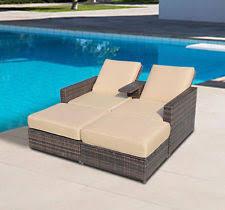 Modern Chaise Lounge Outdoor Daybed Shade Garden Rattan Sleeper