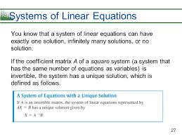 27 systems of linear equations you know that a system of linear equations can have exactly