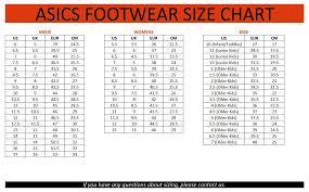 Chasse Shoe Size Chart Asics Shoe Size Chart