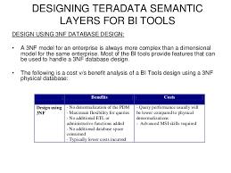 requirements performance administration 11 designing teradata semantic layers for bi tools teradata etl tools