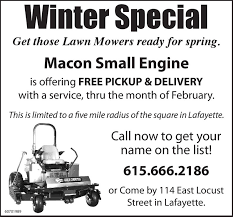 macon small engine parts services6156662186winter specialget those lawn mowers ready for spring macon small