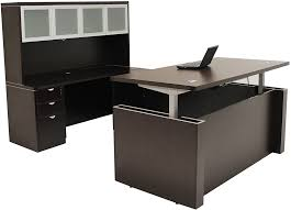 height adjustable office desk. Adjustable Height U-Shaped Executive Office Desk W/Hutch In Mocha