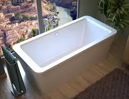 spa world venzi venzi aquilia 32 x 67 x 22 rectangular freestanding air jetted bathtub with center drain lighting etc