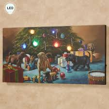 Led Lighted Canvas Painting Christmas Mischief Labrador Puppies Led Lighted Canvas Wall Art