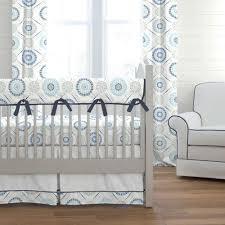 blue modern medallion crib bedding