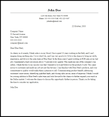 Professional Sales Representative Cover Letter Sample Writing