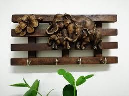 wood key holder 4 hooks jewelry holder