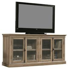 salt oak wood finish tv stand with tempered glass doors fits up to 80 tv