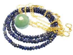 sas design 18k on silver gemstone lapis lazuli or jade necklaces