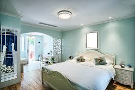 romantic bedroom lighting. Light Blue Bedroom With Large Bed Romantic Lighting