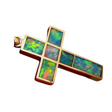 large inlay opal cross pendant 14k gold extremely bright multi colors