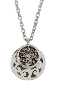 image of lois hill sterling silver medium hand carved double round disc pendant necklace