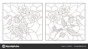 set contour ilrations of stained glass with a sprig of orchids a erfly and a hummingbird a dark outline on a white background vector by zagory
