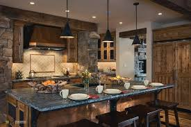 exposed lighting. Kitchen, Exposed Grey Stone Wall Idea Charming Kitchen Island Teakwood Cabinet Warm Lighting Classic Wooden
